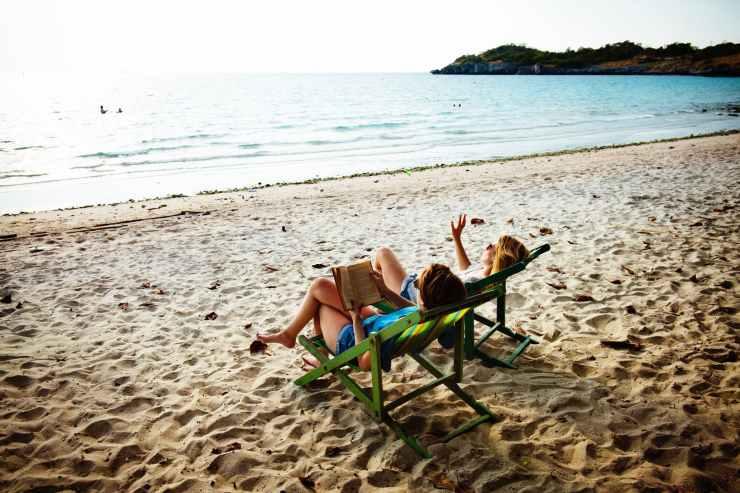 beach beach chair daylight footsteps